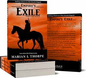 Book cover design for Empires Exile a novel by Marian L Thorpe